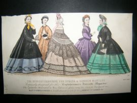 Englishwoman's Domestic Magazine 1863 Hand Col Fashion Print. May